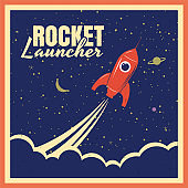 Rocket launcher startup rocket retro poster with vintage colors and grunge effect. Vector, illustration, isolated