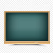 Empty blackboard chalk on transparent