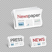 newspapers set transparent background