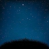 night starry sky grass and ground