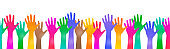 Colored hand crowd - vector