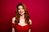 Leisure, lifestyle concept. Portrait of carefree, careless, charming, cheerful, good-looking person with big white hollywood smile, ginger hairstyle look in camera isolated on cherry red background