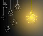 Creative creation ideas bulb, new business idea - vector