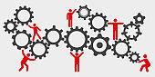 Concept teamwork, staff, partnership mechanism - stock vector