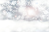 Snowfall and little snow with snow drifts. Heavy snowfall, snowflakes in different shapes and forms. Sky clouds and snow winter. Frosty close-up wintry snowflakes - vector