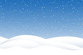 Snowfall and little snow with snow drifts. Heavy snowfall, snowflakes in different shapes and forms. Sky clouds and snow winter. Frosty close-up wintry snowflakes