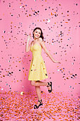 Leisure lifestyle bachelorette excited event weekend summer concept vertical full-length full-size portrait of cheerful tender cute lovely nice girl gesturing hello shiny rain isolated on background