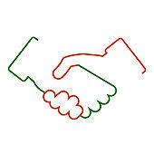 Handshake, partnership, one line – stock vector