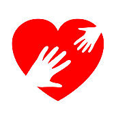 Two hands on heart, charity icon, organization of volunteers, family community – stock vector