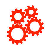 Teamwork, concept business success, red set gear icon illustration - vector