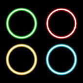 retro neon circle set isolated on black background