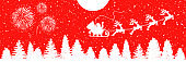 Santa Claus flyin on Christmas sleigh in the night – for stock vector