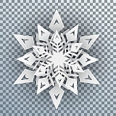 White snowflakes with shadow - stock vector