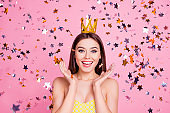 Wow omg! Emotion expressing luxury romantic summer carnival event concept. Close up portrait of adorable lovely tender cute sweet magic pretty charming girl with golden crown holding hands near face