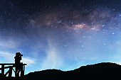 Landscape Milky Way in the sky at night, with the stars shining in the night sky is a sky full of photographers taking pictures of the mountains and the Milky Way.
