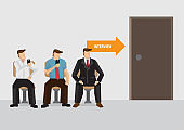 Waiting for Job Interview Vector Illustration