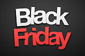 Black Friday sale - Paper font on Black background