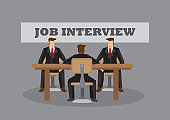 Face to Face Job Interview Cartoon Vector Business Illustration
