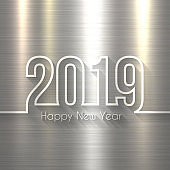Happy new year 2019 - Brushed metal background