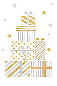 Gold and silver glitter gift boxes paper cut on white background
