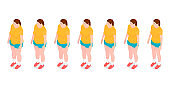 Seven identical girls show the process of losing weight.