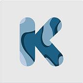 K Water Font Vector Template Design Illustration