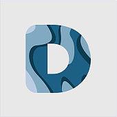 D Water Font Vector Template Design Illustration