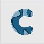 C Water Font Vector Template Design Illustration