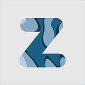 Z Water Font Vector Template Design Illustration