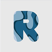 R Water Font Vector Template Design Illustration