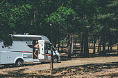 Girl relaxing on a motor home