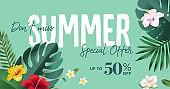 Summer sale vector illustration for mobile and social media banner, poster, shopping ads, marketing material.