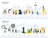 Set of flat design web banners of business process and creative process, isolated on white