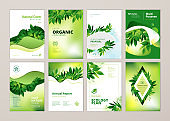 Set of brochure and annual report cover design templates on the subject of nature, environment and organic products