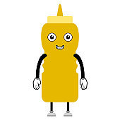 Happy mustard sauce bottle. Fast food