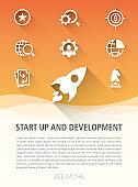 Start Up And Development Flat Icon Set