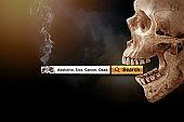 Human skull smoking