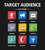 Target Audience Flat Icon Set - Illustration