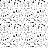 Seamless pattern with hand drawn beauty, make up, cosmetic doodles, isolated vector background