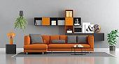 Modern orange and gray lounge