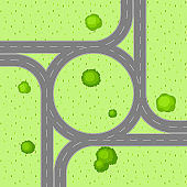Top view of road junction
