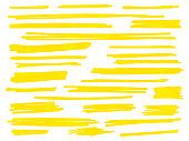 Yellow highlight marker lines or vector highlighter strokes