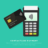 Contactless payment concept in flat design