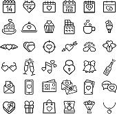 Set Of Valentine Related Vector Line Icons. thin line style. Valentines day signs and love symbols.
