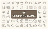 Set Of 48 Shopping Outline Icons