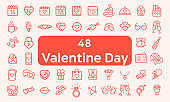 Set Of 48 Valentine Related Icons, thin line style. Valentines day signs and love symbols