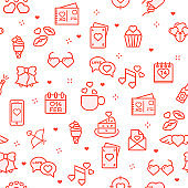 Seamless pattern with valentine day of different types on white background. Vector illustration in line art style for website backdrop, advertisement.
