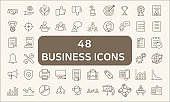 Set Of 48 Business Outline Icons Set