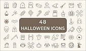 Set Of 48 Halloween Outline Icons