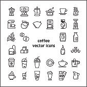 Stock vector illustration - Outline web icon set linear icon coffee and beans , restaurant